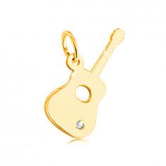 Prívesok zo 14K žltého zlata - gitara s čírym zirkónom v spodnej časti