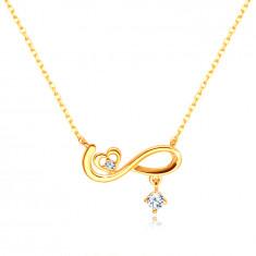 Diamantový náhrdelník zo 14K žltého zlata - symbol nekonečna, srdiečko, brilianty