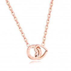 Oceľový náhrdelník, prepojený obrys srdca a kruhu, rímske číslice, medená farba