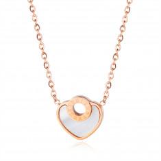 Náhrdelník z ocele, srdcová známka s perleťou, kontúra kruhu, rímske číslice, medená farba