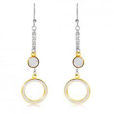 Visiace oceľové náušnice - kruh a koliesko vykladané čírymi kamienkami, zlatá farba, africký háčík