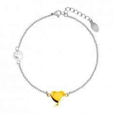 Náramok z ocele - hladké lesklé srdiečko v zlatej farbe, perleťová gulička, jemná retiazka
