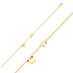 Zlatý 9K náramok - motýliky v žltom zlate, lesklá retiazka z oválnych očiek