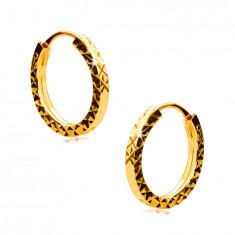 Náušnice v žltom 585 zlate - krúžky zdobené diamantovým rezom, hranaté ramená, 12 mm