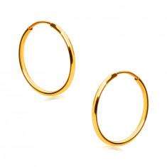Zlaté okrúhle náušnice v 14K zlate - tenké oblé ramená, hladký a lesklý povrch, 15 mm