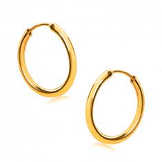 Zlaté náušnice v žltom 14K zlate, kruhy, oblé ramená, hladký a lesklý povrch, 14 mm