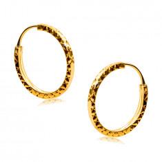 Náušnice v žltom 585 zlate - kruhy zdobené diamantovým rezom, hranaté ramená, 14 mm