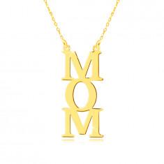 Náhrdelník zo žltého 14K zlata - nápis MOM, písmená pod sebou, retiazka z drobných očiek