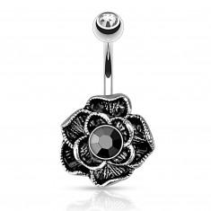 Vintage piercing do pupku z chirurgickej ocele - rozkvitnutá ruža, čierny hematit