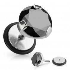 Falošný piercing do ucha z chirurgickej ocele - okrúhly čierny zirkón, gumička