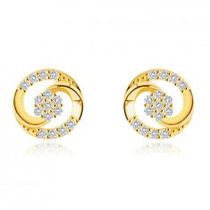 Náušnice z 9K zlata - kontúra kruhu tvorená dvoma spojenými slzami, zirkóny