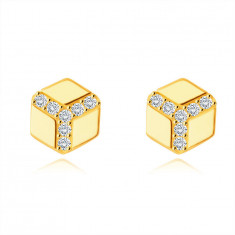 Zlaté 375 náušnice - šesťuholník s hladkým povrchom, okrúhle číre zirkóny, puzetky