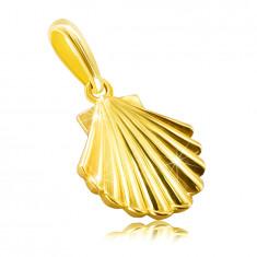 Zlatý prívesok z 9K žltého zlata - morská mušľa, lesklý a hladký povrch