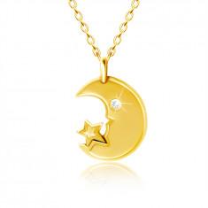 Náhrdelník v žltom 9K zlate - mesiačik s čírym zirkónovým očkom, hviezdička