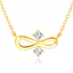 "Náhrdelník 375 v žltom zlate - symbol ""INFINITY"", dva číre zirkóniky v strede"