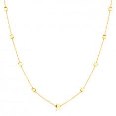 Náhrdelník v 9K žltom zlate - jemná retiazka s lesklými kockami