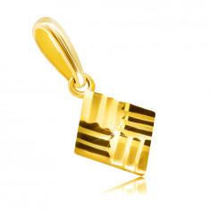 Prívesok z 9K zlata - vrúbkovaný štvorček s lesklým povrchom