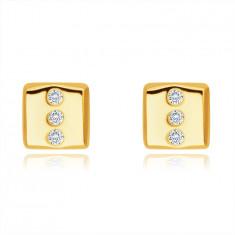 Zlaté 9K náušnice - obdĺžnik s tromi okrúhlymi čírymi zirkónmi, puzetky