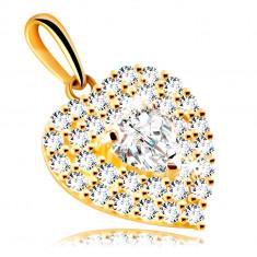 Prívesok z 9K zlata - srdce zdobené trblietavými zirkónmi so vsadeným zirkónovým srdiečkom