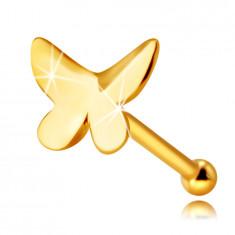 Piercing do nosa z 9K žltého zlata - motýľ s plochým povrchom a mierne zahnutými krídlami