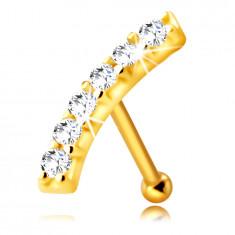 Zlatý 375 piercing do nosa - mierne zaoblený pásik s čírymi zirkónikmi