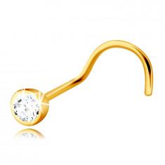 Piercing do nosa z 9K zlata so zahnutým koncom - číry zirkónik v okrúhlej objímke, 2 mm