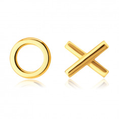 """Náušnice z 9K žltého zlata - symbol """"XO"""" - Objatia a Bozky, puzetky"""