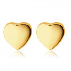 Náušnice zo žltého 9K zlata - hladké zrkadlovolesklé srdiečka, puzetky