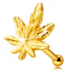 Piercing do nosa z 9K žltého zlata - kontúra marihuanového listu, drobné žilky