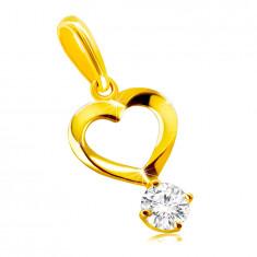 Prívesok z 9K zlata - motív srdca so zatočenými líniami, okrúhly číry zirkón v kotlíku