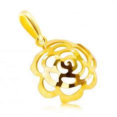 Prívesok z 9K zlata - vypuklý kvietok v tvare polgule s výrezmi lupeňov