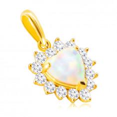Zlatý 9K prívesok - biely syntetický opál v tvare srdca, lem z okrúhlych čírych zirkónov