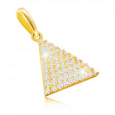 Zlatý 9K prívesok - rovnoramenný trojuholník, drobné okrúhle zirkóniky, oválne očko