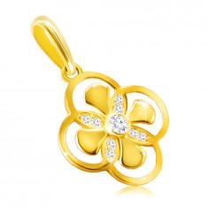 Prívesok z 9K zlata - kvet s kombinovanými lupeňmi, zirkón v objímke