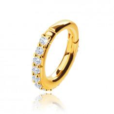 Piercing do nosa zo žltého 9K zlata, kruh 7 mm, číre zirkóny, hrúbka 1,2 mm
