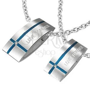 7d17b2938 Oceľový prívesok LOVE FOREVER pre dvoch - obdĺžnik, kríž | Piercing Shop