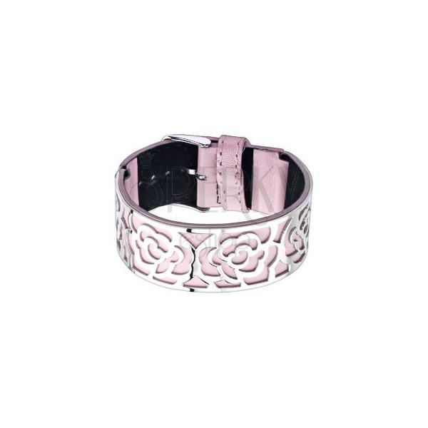 3e702b893 Ružový náramok s oceľovou ozdobou, výseky - ruže   Piercing Shop